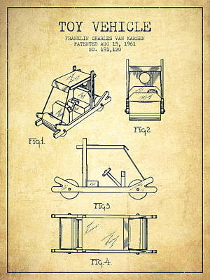 Flintstones Toy Vehicle Patent From 1961 - Vintage Poster by Aged Pixel