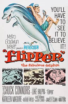 Flipper, Flipper On Poster Art, 1963 Poster by Everett