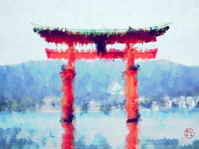 Floating Torii Gate Of Japan Poster by Daniel Hagerman
