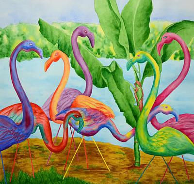 Floosie Flamingos Poster by Rhonda Leonard