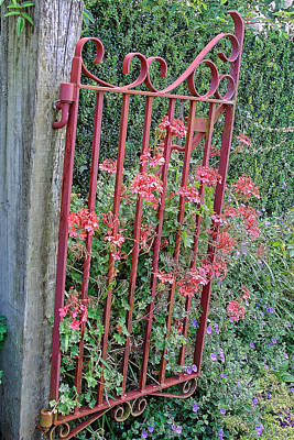 Floral Garden Gate Poster by Linda Phelps