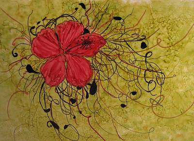Floral Scrolls Poster by Linda Brown