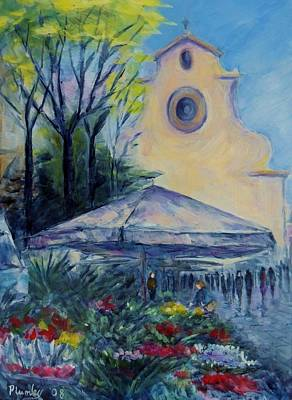 Florence Italy Piazza Santo Spirito Poster by Phyllis Plumley