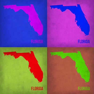 Florida Pop Art Map 1 Poster by Naxart Studio