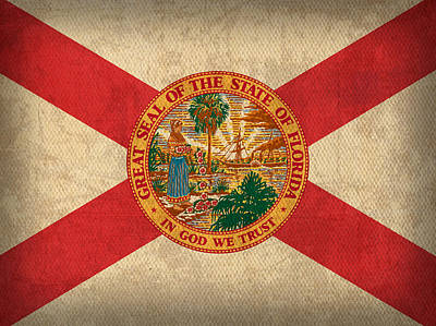 Florida State Flag Art On Worn Canvas Poster by Design Turnpike