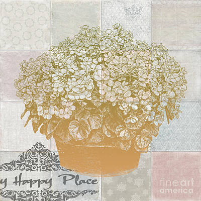 Flower Pot With Beautiful Checked Vintage Background And My Happy Place Script Poster by Art World
