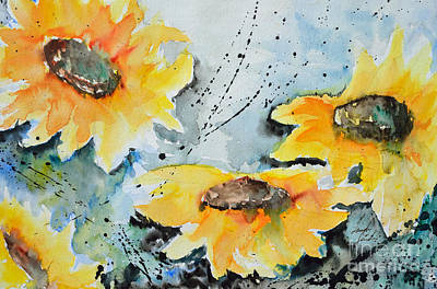 Flower Power- Floral Painting Poster by Ismeta Gruenwald