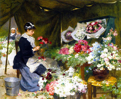 Flower Seller Makiing Bouquets Poster by Victor Gabriel Gilbert