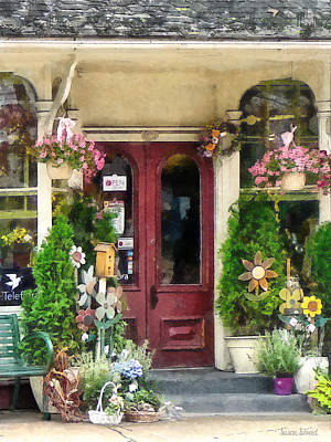 Flower Shop With Birdhouse Poster by Susan Savad