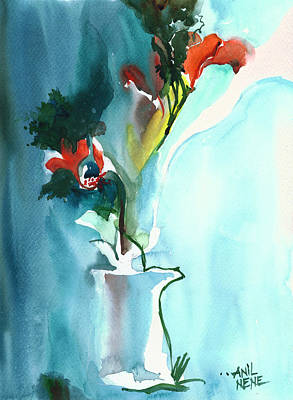 Flowers In Vase Poster by Anil Nene