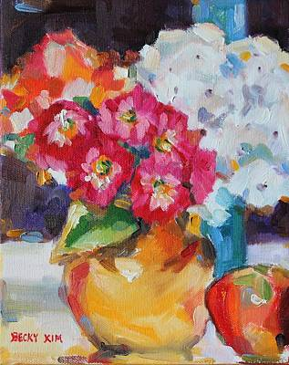 Flowers In Yellow Vase With An Apple Poster by Becky Kim