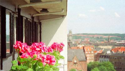 Flowers On The Balcony Poster by Jeff Kolker