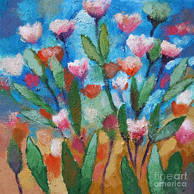 Flowers With Blue Poster by Lutz Baar