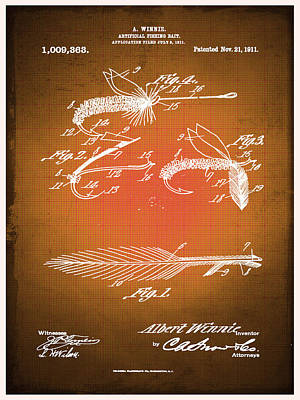 Fly Fishing Bait Patent Blueprint Drawing Sepia Poster by Tony Rubino