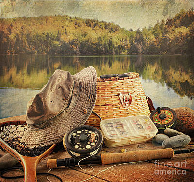 Fly Fishing Equipment  With Vintage Look Poster by Sandra Cunningham