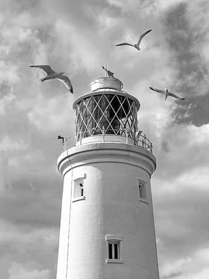 Fly Past - Seagulls Round Southwold Lighthouse In Black And White Poster by Gill Billington