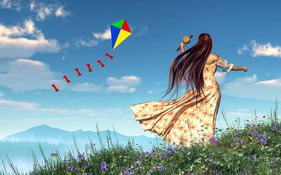 Flying A Kite Poster by Daniel Eskridge