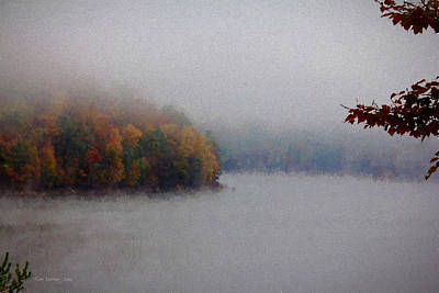 Foggy Autumn On Lake Poster by Tom Culver