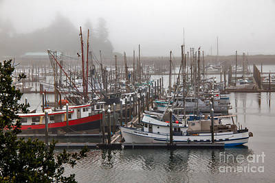 Foggy Ilwaco Port Poster by Robert Bales