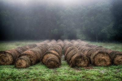 Foggy Morning Bales I Poster by David Morel