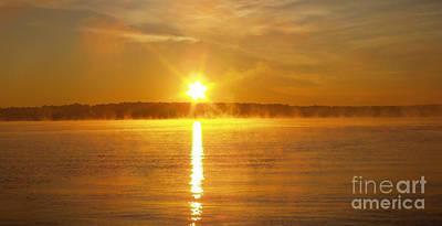 Foggy Sunrise Over Manhassett Bay Poster by John Telfer