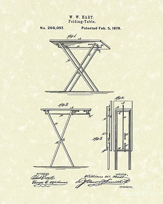 Folding Table 1878 Patent Art Poster by Prior Art Design