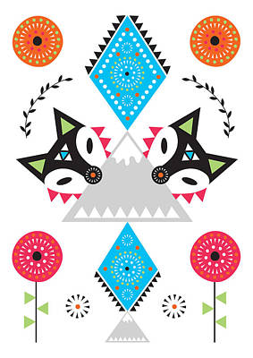 Folk Fox Poster by Susan Claire