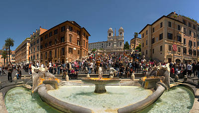 Fontana Della Barcaccia At Piazza Di Poster by Panoramic Images
