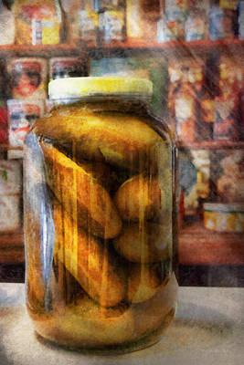 Food - Vegetable - A Jar Of Pickles Poster by Mike Savad