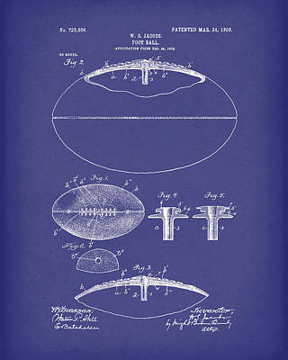 Football 1903 Jacobs Patent Art Blue Poster by Prior Art Design