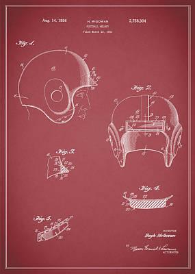 Football Helmet 1954 - Red Poster by Mark Rogan