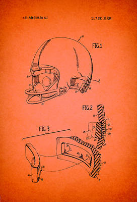 Football Helmet Patent 1973 Poster by Mountain Dreams