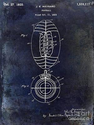 1925 Football Patent Drawing Blue Poster by Jon Neidert