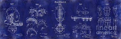 Football Patent History Blue Poster by Jon Neidert