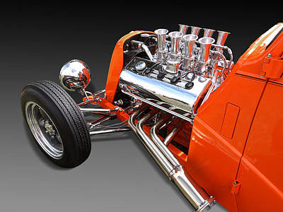 Ford Coupe Hot Rod Engine Poster by Gill Billington