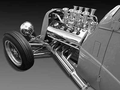 Ford Coupe Hot Rod Engine In Black And White Poster by Gill Billington