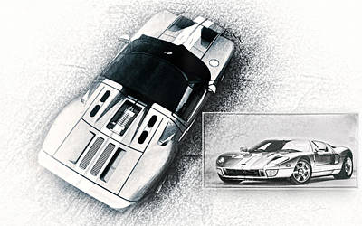 Ford Motor Company Poster featuring the digital art Ford Gt by Peter Chilelli