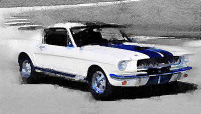 Ford Mustang Shelby Watercolor Poster by Naxart Studio