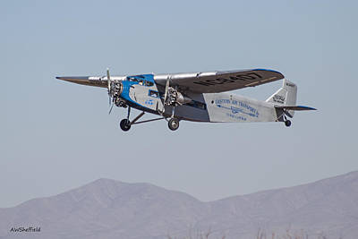Ford Tri-motor Taking Off Poster by Allen Sheffield