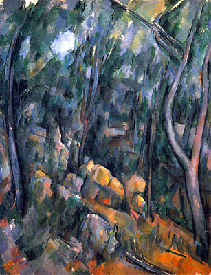 Forest Caves In The Cliffs Above The Cheteau Noir By Cezanne Poster by John Peter