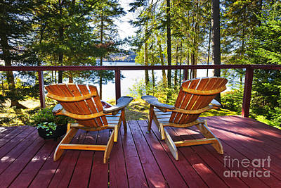 Forest Cottage Deck And Chairs Poster by Elena Elisseeva