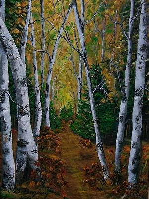 Birch Tree Forest Trail  Poster by Sharon Duguay