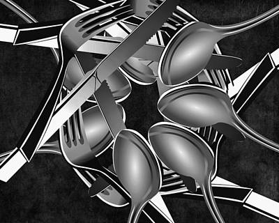 Fork Knife Spoon 1 Poster by Angelina Vick