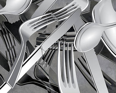 Fork Knife Spoon 7 Poster by Angelina Vick