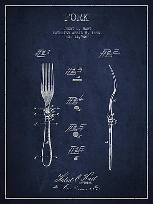 Fork Patent From 1884 - Navy Blue Poster by Aged Pixel