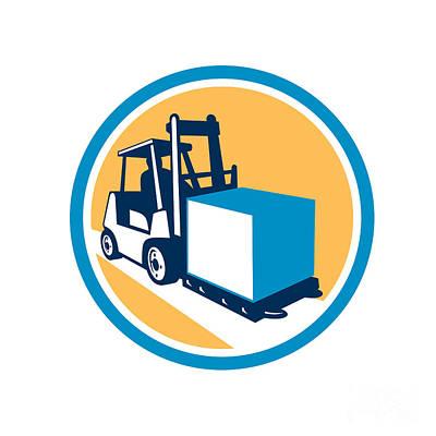 Forklift Truck Box Circle Retro Poster by Aloysius Patrimonio