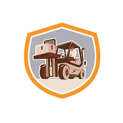 Forklift Truck Materials Handling Logistics Shield Poster by Aloysius Patrimonio