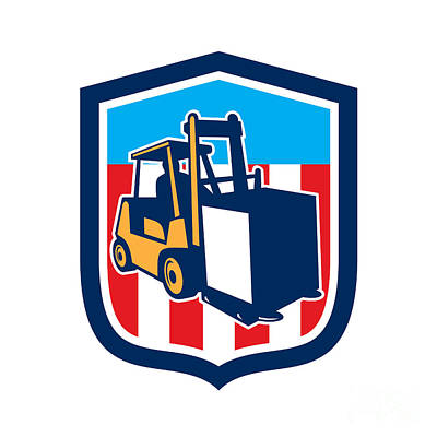 Forklift Truck Materials Logistics Shield Retro Poster by Aloysius Patrimonio