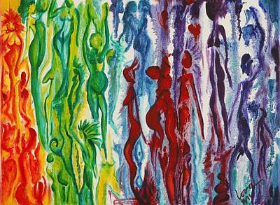 Rainbow Body Poster featuring the painting Rainbow People by Lora DAgnillo