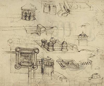 Fortress From Atlantic Codex  Poster by Leonardo Da Vinci